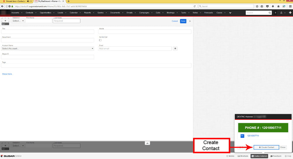 Create a Contact from the popup if the caller information is not listed in SugarCRM