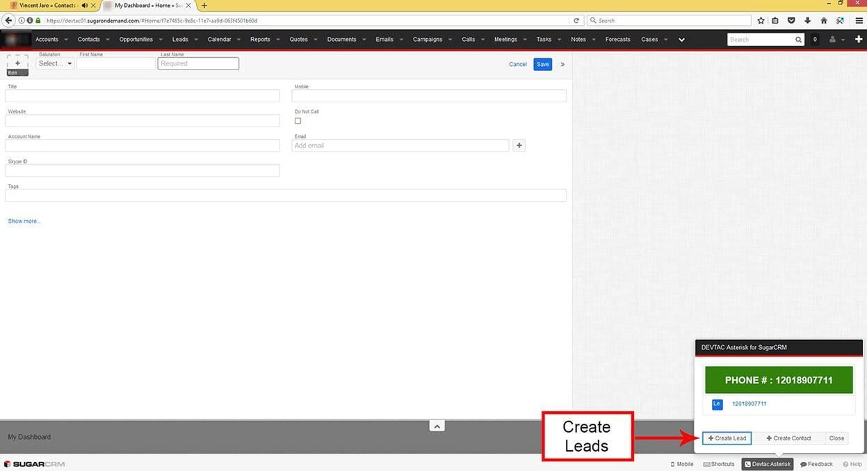 Create a Lead from the popup if the caller information is not listed in SugarCRM