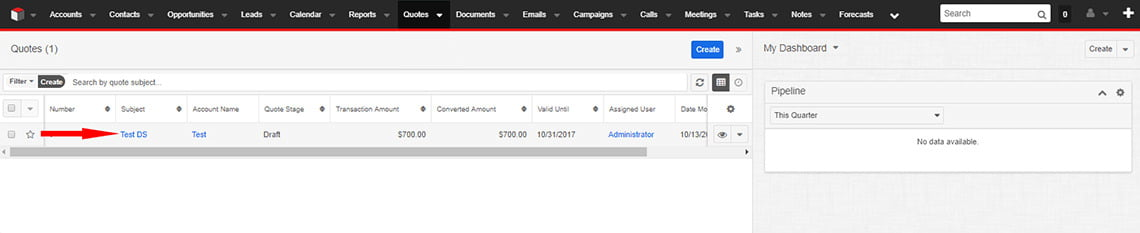 Step 2. Choose an available quote that you'd like to be signed or click Create to make a new document.