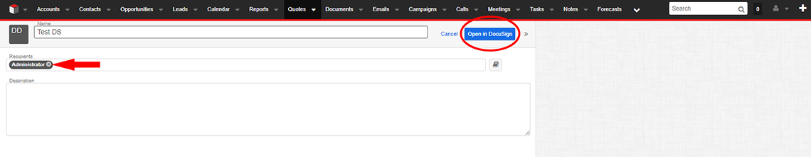 Step 4. Add recipient(s) e.g. Administrator. Click Open in DocuSign