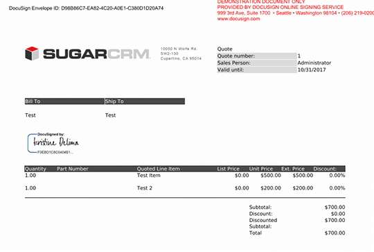 SUGARCRM DOCUSIGN INTEGRATION